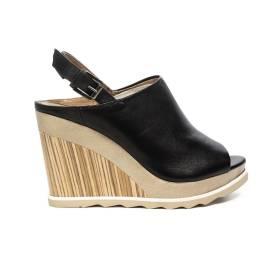 Carmens sandalo donna con zeppa alta colore nero articolo 39099 Nero Oregon