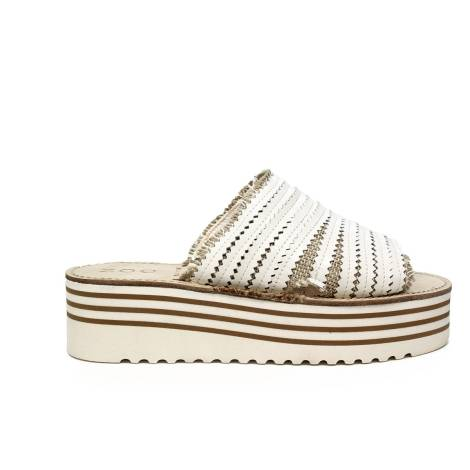 Zoe Italy women sandal with mid wedge white color article CU50/08