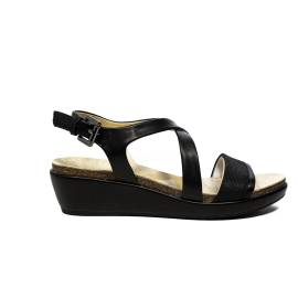 Geox sandal for women made in leather with bands black color article D72P6A 0BCSK C9999