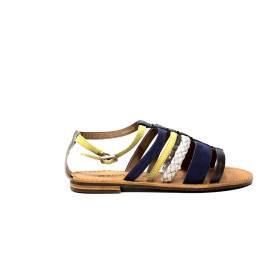 Geox sandalo basso donna in pelle color giallo e violetto articolo D722CE 021PE C8K1G