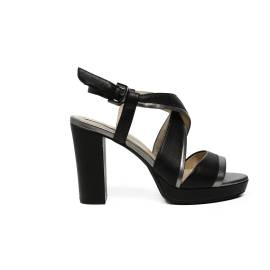 Geox sandal for women with high heels made in leather with black and steel color bands article D724LD 085WF CJ62L