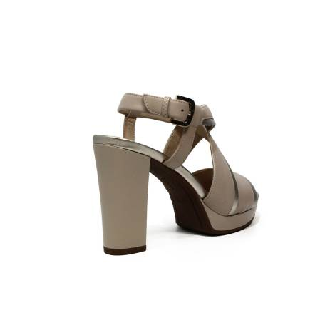 Geox sandalo donna con tacco alto e fasce colore beige e oro articolo D724LD 085WF C981G