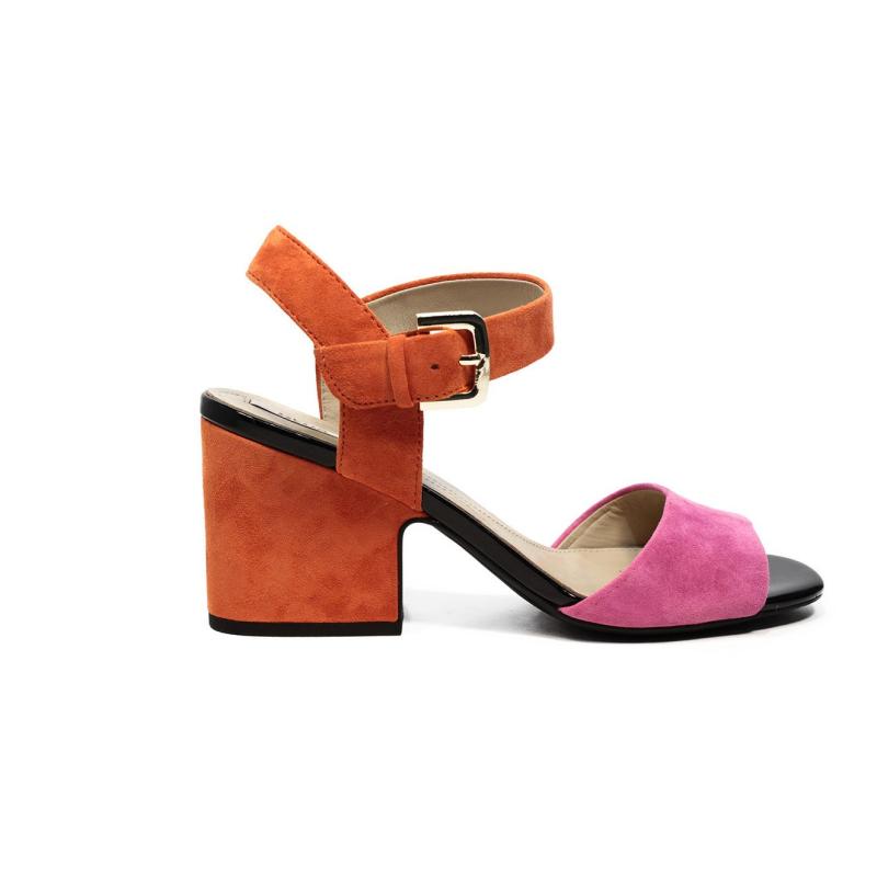 Geox sandalo con tacco medio alto color arancio e rosa