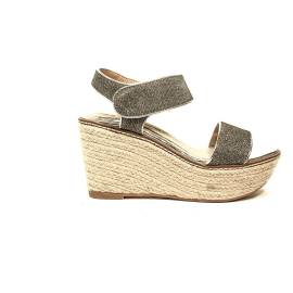 Maria Mare glittered sandal with high wedge champagne color article 66809