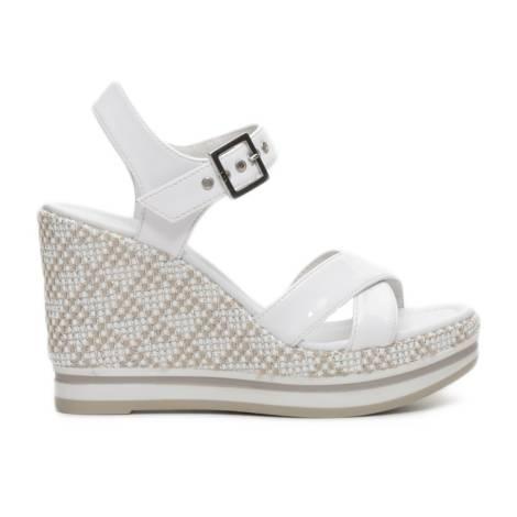 Nero Giardini sandalo donna con zeppa color bianco articolo P717700D 707