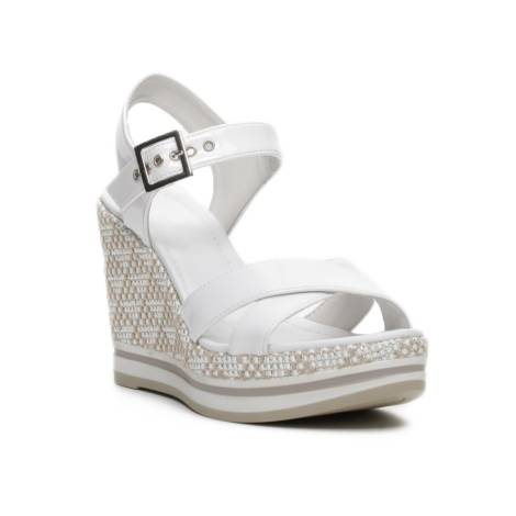 Nero Giardini sandalo donna con zeppa color bianco articolo