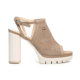 Nero Giardini sandal senior woman with perforated leather champagne color ad in Article P717760D 439