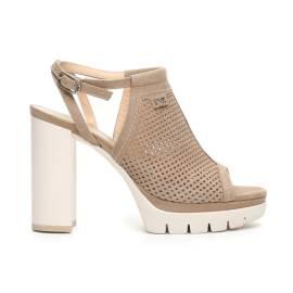 Nero Giardini sandalo alto donna con inserzione traforata in pelle color champagne articolo P717760D 439