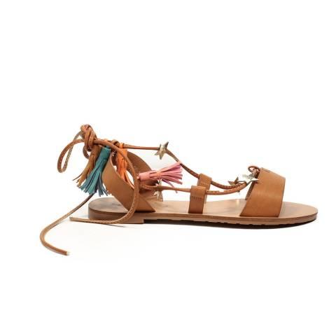 Francesco Milano sandalo gioiello in pelle colore cuoio beige articolo N13-2P
