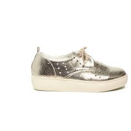 Francesco Milano Sneaker color platino con zeppa media articolo N05-16G