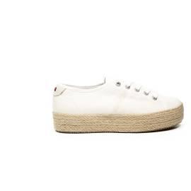 Napapijri sneaker bianca con zeppa in paglia articolo 14738788/N29