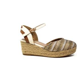 Wrangler sandalo con zeppa alta natural articolo WL171627 W0516