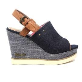 Wrangler sandalo con zeppa alta colore blu articolo WL171683 W0100