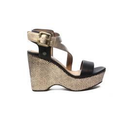 Wrangler sandalo con zeppa alta nero e bronzo articolo WL171722 W0435