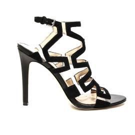 Guess sandalo in camoscio con tacco alto color nero articolo FLPDT2 SUE03 BLACK