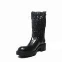Impicci tronchetto donna tacco media paillettes di colore nero D7001/B
