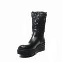Impicci tronchetto donna zeppa alto paillettes di colore nero D7001/C