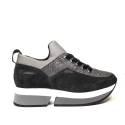 Fornarina sneaker donna con zeppa interna e glitter colore grigio articolo PI18SL1080VR01
