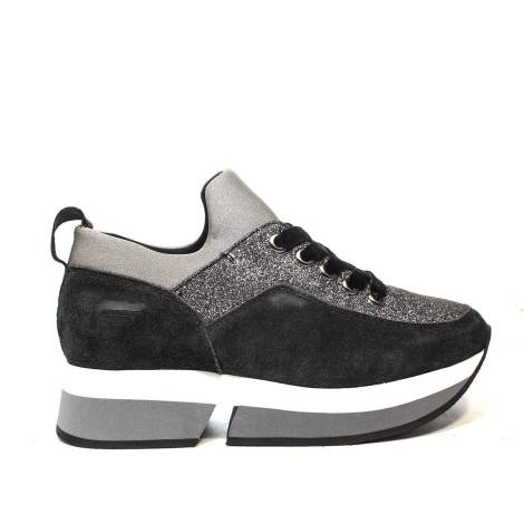 Fornarina women's sneaker with inner wedge and glitter color Grey article PI18SL1080VR01
