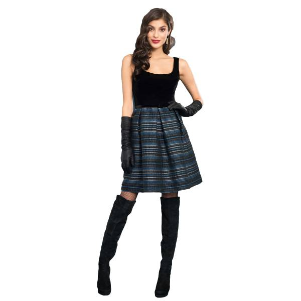 EDAS LUXURY JILVANO BLU/BLACK abito donna con pieghe
