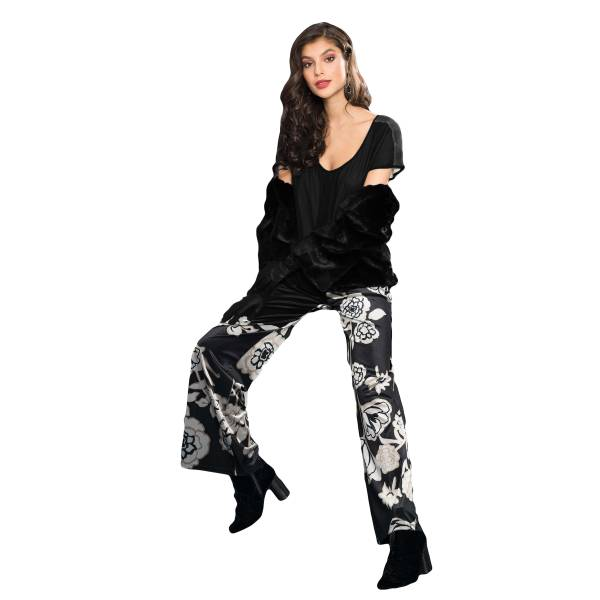 EDAS LUXURY VIVALDI NERO/ORO pantalone donna in velluto
