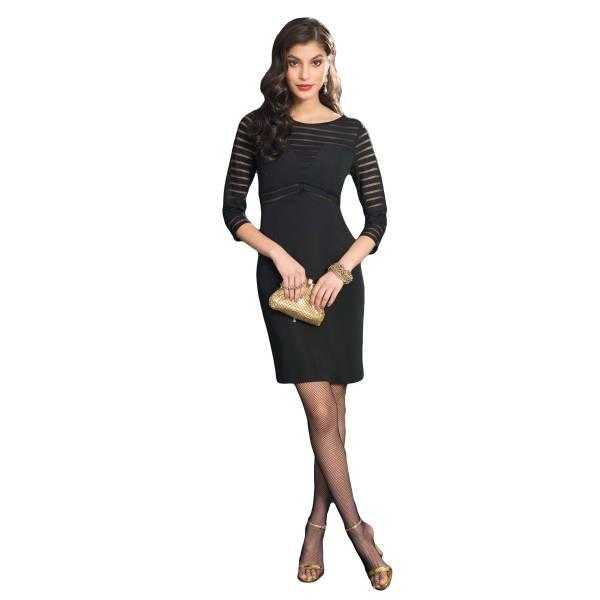 EDAS LUXURY RADIUS NERO abito corto donna con corpetto in rete