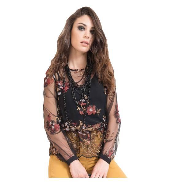 EDAS TERESINA NERO/FIORE camicia donna