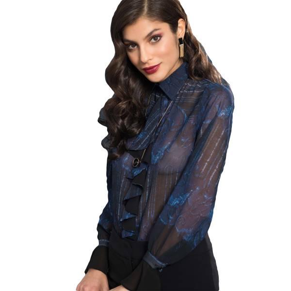 EDAS LUXURY GIANLUCIA CIELO 1 camicia donna con rouches