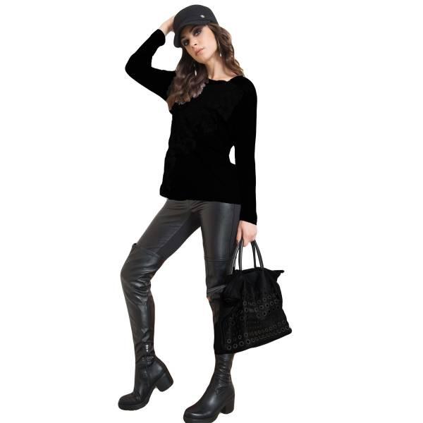 EDAS SPINACIO NERO leggings donna con inserzioni stile ecopelle