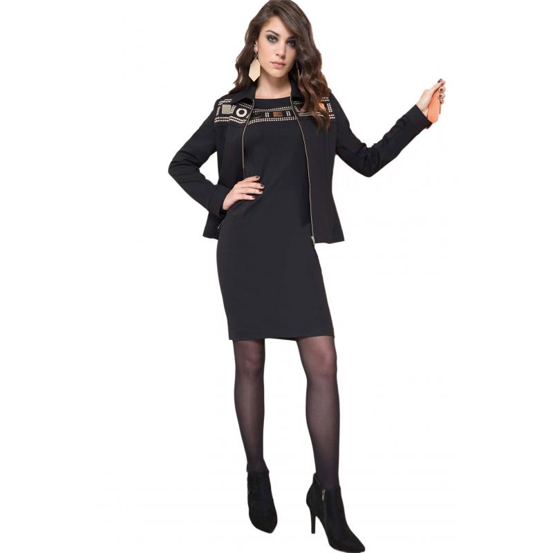 EDAS PONCIRUS NERO abito corto donna decorato con borchie c118a39701b