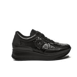 Agile by Rucoline sneaker con zeppa media e paillettes colore nero articolo 1304 a tarsia