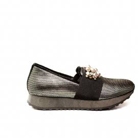 Apepazza loafer women wedge with beads grey color article MCT14
