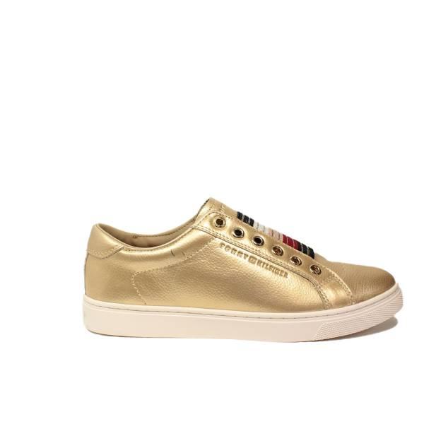 Tommy Hilfiger sneakers con zeppa bassa oro articolo FW0FW01913/058