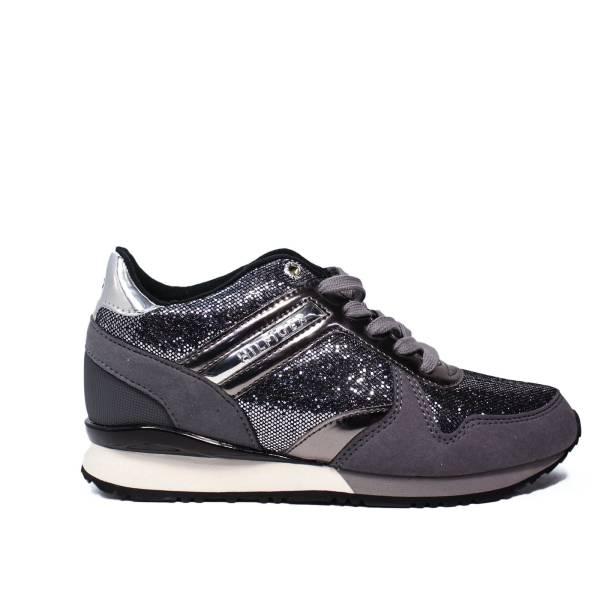 Tommy Hilfiger sneakers con zeppa basso argento articolo FW0FW01763/990