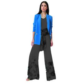 EDAS LUXURY CINCILLA giacca lunga donna color IMPERIAL BLU