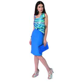EDAS LUXURY ROBECCO women's dress with bow, color IMPERIAL BLU