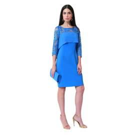EDAS LUXURY PADALINO women's dress with long sleeves, color IMPERIAL BLU