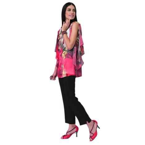 EDAS LUXURY GRISOLIA tunica donna con voilants color TULIPANO