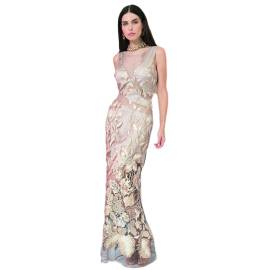 EDAS LUXURY RIACCIO abito lungo donna con intarsi e ricami color ORO