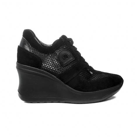 Agile by Rucoline sneaker donna traforata di colore nero con zeppa alta articolo 1800 A CHAMBERS SOFT NERO