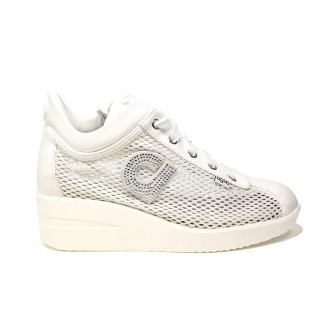 Agile by Rucoline sneaker donna con zeppa e strass colore bianco articolo 226 A CHAMBERS STRASS BIANCO