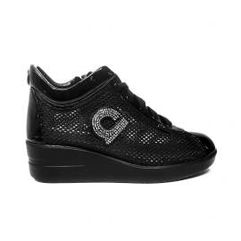 Agile by Rucoline sneaker woman with wedge and rhinestones black ARTICLE 226 TO CHAMBERS BLACK STRASS