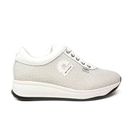 Agile by Rucoline sneaker woman perforated white leather wedge article 1315 to CHARO FOR WHITE