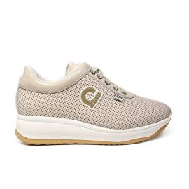 Agile by Rucoline sneaker woman in ivory perforated leather wedge article 1315 to CHARO FOR Ivory