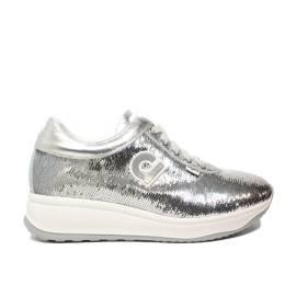 Agile by Rucoline sneaker donna con paillette di colore argento articolo 1315 A GELSO STAR SILVER