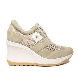 Agile by Rucoline sneaker woman perforated with wedge high beige color article 1800 TO CHAMBERS SOFT BEIGE