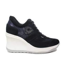 Agile by Rucoline sneaker donna traforata con zeppa alta colore blu articolo 1800 A CHAMBERS SOFT BLU