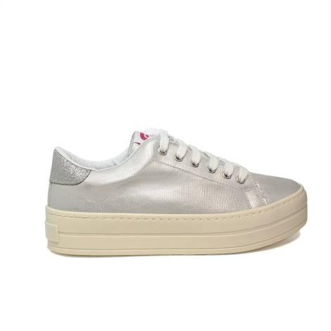 Fornarina sneaker donna con zeppa media color argento articolo PE18MX2905R090 MAXI2 SILVER