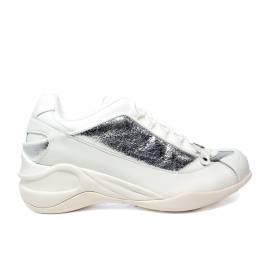 Fornarina sneaker donna con zeppa colori bianco e argento articolo PE18SE8922VL90 SPECIAL WHITE/SILVER ACTION LEATHER/PU