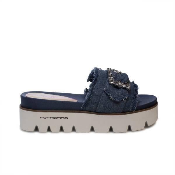 Fornarina sandalo con zeppa in tessuto fasciato color jeans articolo PE18FE2901T018 FREE LIGHT BLUE FABRIC
